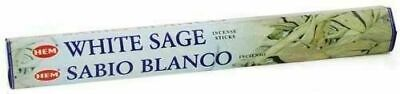 WHITE SAGE INCENSE STICKS~Hem Hexagonal Pack of 20 Sticks Wicca Smudge Pagan