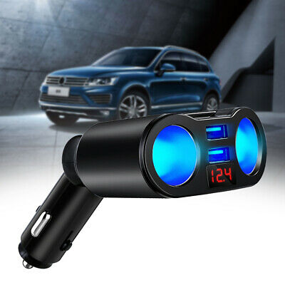 12-24V 2-Way Car Cigarette Lighter Socket Dual USB Car Charger Power Adapter F