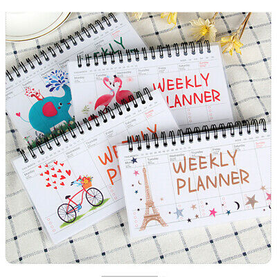 Notebook Schedule Agenda Cartoon Flamingo Weekly Planner Coil 100Pages Memo