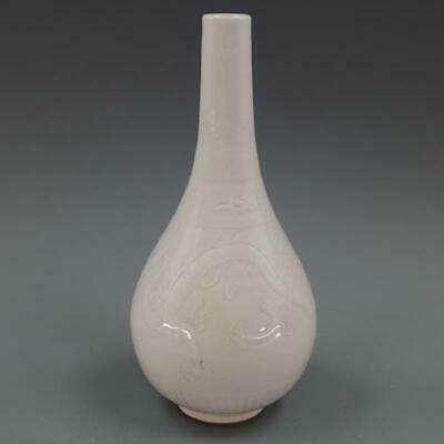 Chinese ancient antique hand make White glaze  Dragon pattern vase a193