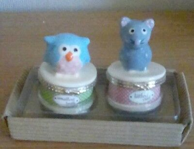 Owl & Mouse Babies First Tooth and First Curl Set by Mud Pie  Brand New