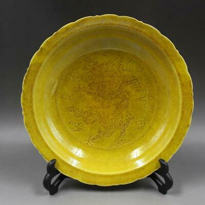 Chinese ancient antique hand make Yellow glaze  Dragon pattern plate a210