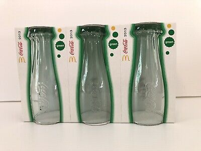 2013 McDonalds Coca Cola Glasses Set of 3 New in Box - Green