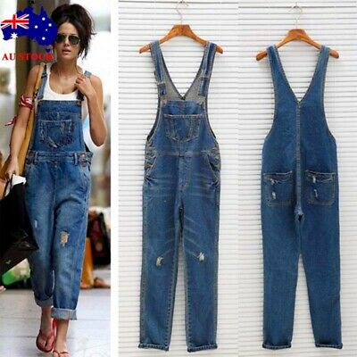 Women Ripped Denim Full Length Dungarees Overalls Ladies Casual Romper Trousers