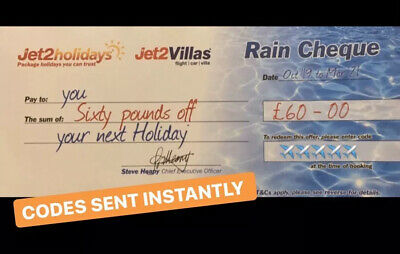 1 XNEW Jet2Holidays £60 Rain Cheque voucher Valid until OCT 2020-DECEMBER CODES