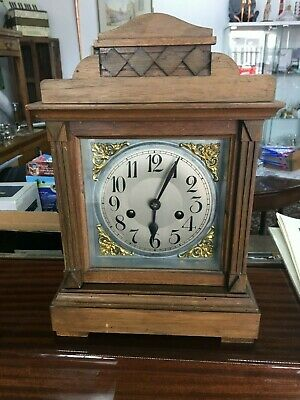 Vintage Mantle bracket Clock With Key For Restoration Spares & Repairs