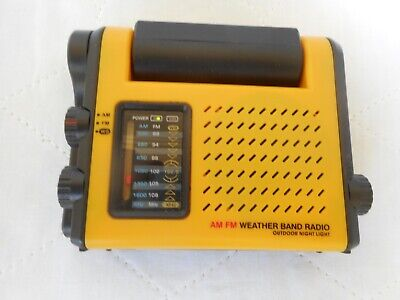 AM/FM Outdoor Weather Band Radio with Pivoting LED Light + Manual Tested Works