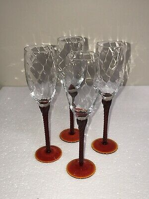 Set of 4 Amberina Champagne Flutes Optic Glass Ruby Red & Amberina Stem 9""