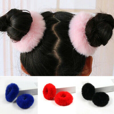 Girls Cute Soft Fluffy Faux Fur Hair Ring Rope Band Furry Scrunchie Elastic US