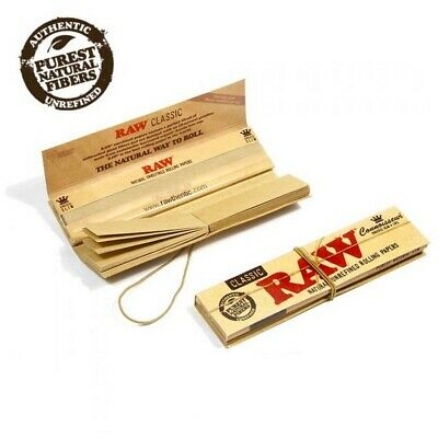 6 x RAW Classic King Size Connoisseur Classic King Size Slim Rolling Papers NEW