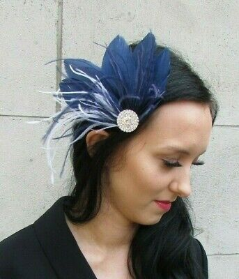 Navy Blue White Silver Diamante Feather Fascinator Hair Clip Races Wedding 7438