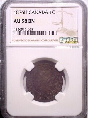 1876H NGC AU58BN Canada Large One cent - Clean Holder - Penny - Heaton Mint - 1C