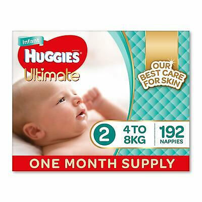Huggies Ultimate Nappies, Unisex, Size 2 Infant (4-8kg), 192 Count FAST SHIPPING