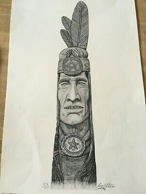 Native American Indian Pencil Drawing Print Totem Artist Signed Larry D Peterson