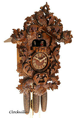 original cuckoo clock black forest 8 day  german music  carved mechanical new