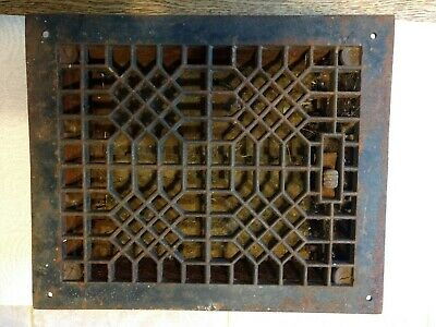 Ornate Vintage Cast Iron Floor Heat Grate With Louvers 8 x 10