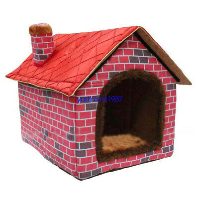 Indoor Large Dog House Soft Warm Canvas Cat Doggy Beds Red Portable Pet Kennel
