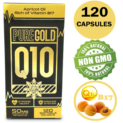 CoEnzyme Q10 COQ10 Vit B17 50mg Apricot Oil 120 Capsules Strong Heart Immune