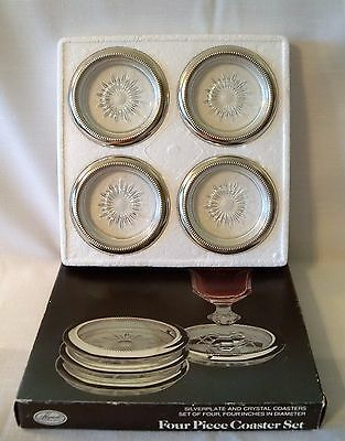 LEONARD  SILVER PLATED & CRYSTAL STARBURST COASTERS ASHTRAY  BOXED SET of 4