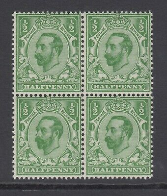Block of 4 GB KGV 1/2d Green SG322 George V 1911 Mint Never Hinged Stamps