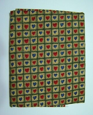 Benartex Starry Night Carol Endres Fabric Blue Red Hearts on Tan Quilting 2 yds