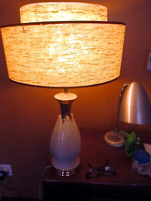 Large Vintage Mid Century Modern MCM  Gold Atomic Table Lamp 2 tier Shade LOOK