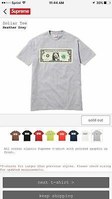 ⭐️ New Supreme One Dollar Zillion Gray T-shirt Size XL 💯 Authentic ⭐️