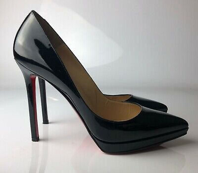 cheap for discount 62c99 818b3 CHRISTIAN LOUBOUTIN PIGALLE Plato 120 Black Patent Leather Pumps Heels Euro  39.5