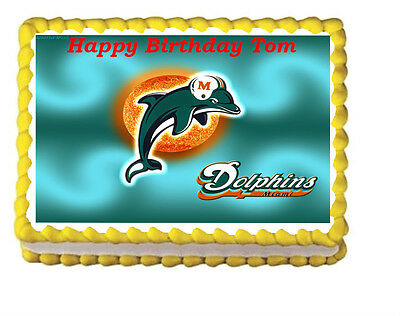 Miami Dolphins Birthday Party Icing Edible Cake Topper 1/4 sheet