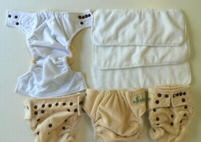 4 x EARTH BUBZ one size snap cloth nappy covers plus 3 inserts