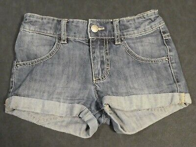 Benetton Girls Blue Cotton Denim Jeans Shorts With Turn Ups Size M Age 7-8 Years
