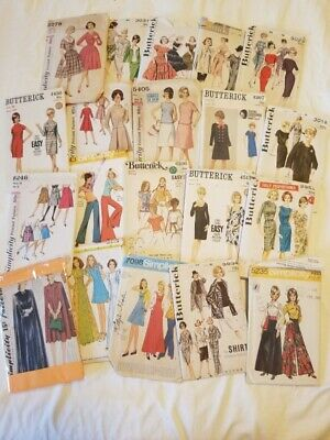 Lot of 20 Vintage Butterick, McCall's, Simplicity, Women's sewing patterns
