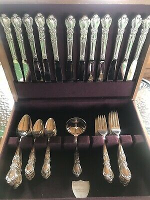"1847 Rogers Bros silverware ""Heritage"", 10 Place Settings Plus Extras-69 Pieces"