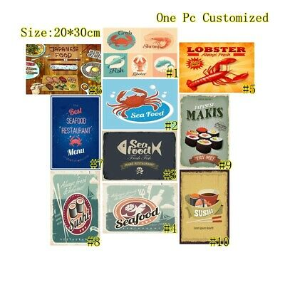 Seafood Vintage Metal Tin Signs Japanese Sushi Hanging Art Wall Decor Poster