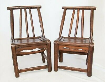Pair Antique 19th-Century Chinese Child's Chairs Kuang Hsu Period