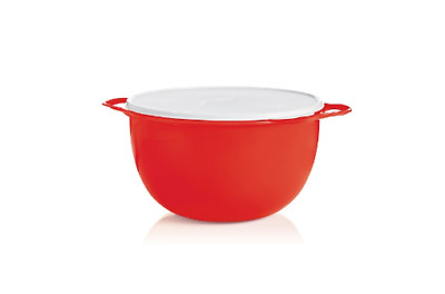 Tupperware Thatsa Mega Double Handle Mixing Bowl 42 Cup Red with White Seal NEW!