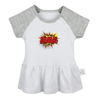 You are my Superhero Newborn Baby Girls Dress Toddler Infant 100% Cotton Clothes