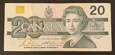 1991 - Canadian Twenty Dollar 20$ Banknote, Bank Of Canada