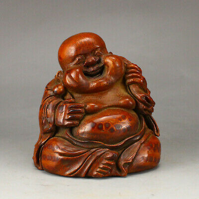 Vintage Chinese Bamboo Laughing Buddha Statue