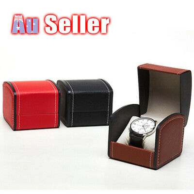 Single Grid Leather Jewelry Storage Gift Organizer Watch Display Case Slot Box