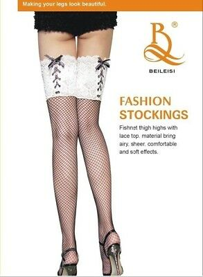 Fashion Ladies Black Fishnet Thigh Highs Stocking Lingerie Lace-up Top Hosiery