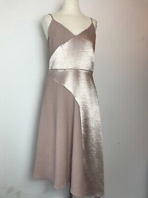 Womans Coast Nude Blush Rose Gold Races Wedding Evening Floaty Dress Size 10