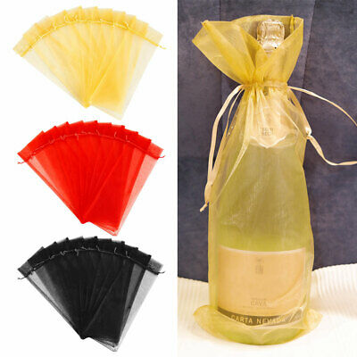 10X Organza Wine Bottle Gift Bag Holiday Party Wedding Colorful Drawstring Pouch