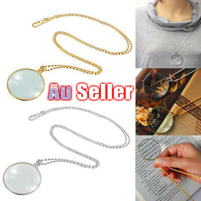 6x Magnifier Coin Magnifying Glass Silver Pendant Gold Lens Necklace Monocle