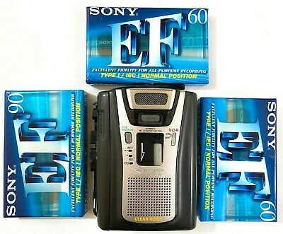 Sony Clear Voice Tape Cassette Player Recorder TCM-465V + 3 Blank Cassettes