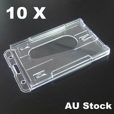 10 x Clear Hard Plastic Vertical Name Tag ID Double Business Card Badge Holder