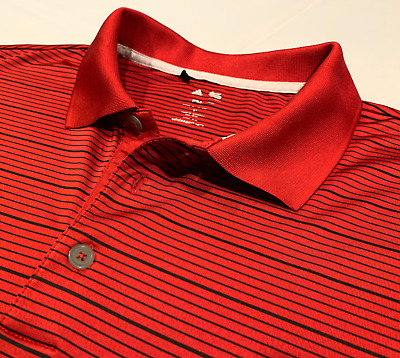 Adidas Mens Climalite Polo Golf Shirt XL XLarge Red/Black Stripe Sports Import