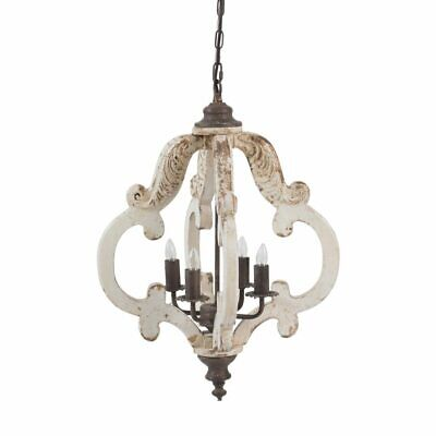 French Country Antique Style Iron Wood Off White Chandelier,19'' x 26''H