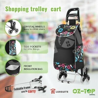 Shopping Cart Trolley Foldable Grocery Luggage Basket Bags Market Wheel Carts