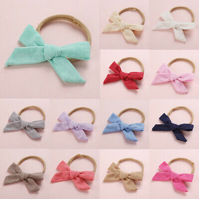 Girls Kids Toddler Cotton Linen Nylon Bow Headband Solid Color Hair Ring Hairban